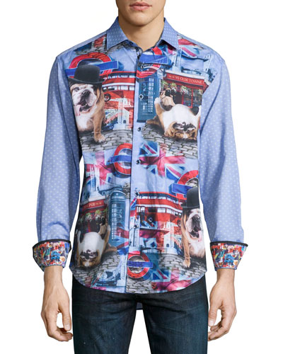 Bulldog-Print Sport Shirt, Multi