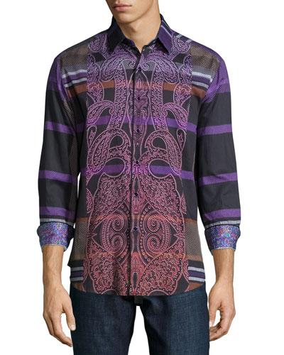 Hogmanay Multi-Print Sport Shirt, Black