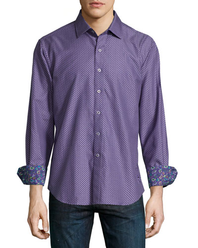 Patterson Printed Sport Shirt, Dark Purple