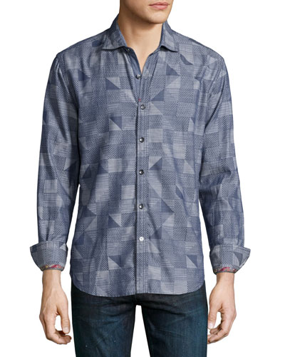 Trim Castle Geo-Print Sport Shirt, Navy
