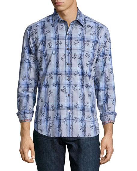 Robert Graham Westmeath Multi-Print Sport Shirt, Blue