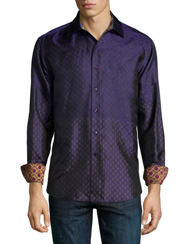 Ioch Diamond-Print Sport Shirt, Purple