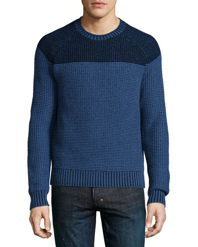 Neiman Marcus Cashmere by Billy Reid Colorblock Reverse Raglan Sweater, Blue