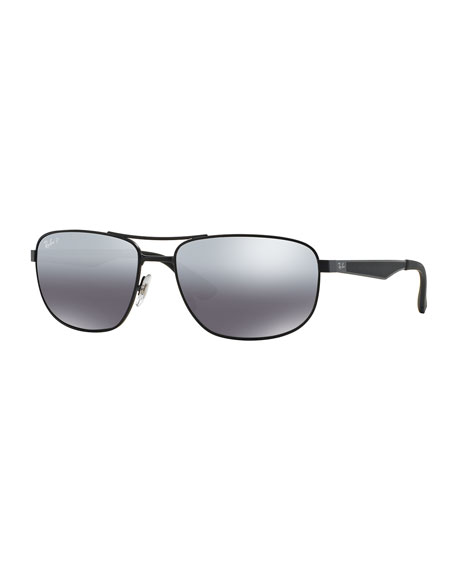 Metal Mirrored Aviator Sunglasses, Black