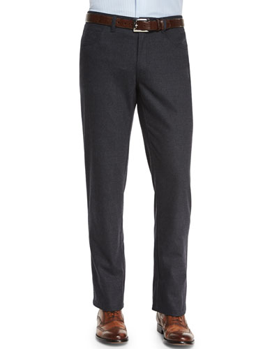 Five-Pocket Cashmere-Blend Trousers, Charcoal