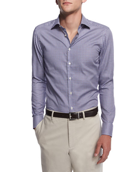 Etro Small-Gingham Long-Sleeve Sport Shirt, Navy