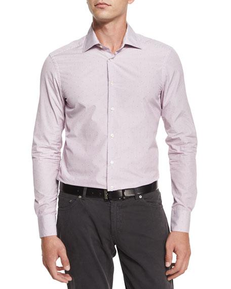 Fine-Stripe & Dot Print Sport Shirt, Wine