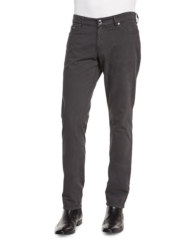 Cashmere-Blend Five-Pocket Pants, Charcoal
