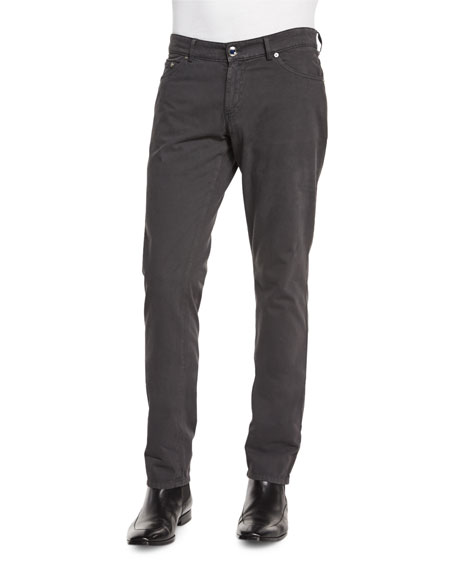EtroCashmere-Blend Five-Pocket Pants, Charcoal