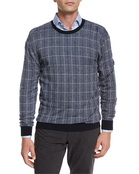 Etro Printed Cashmere-Blend Crewneck Sweater, Navy