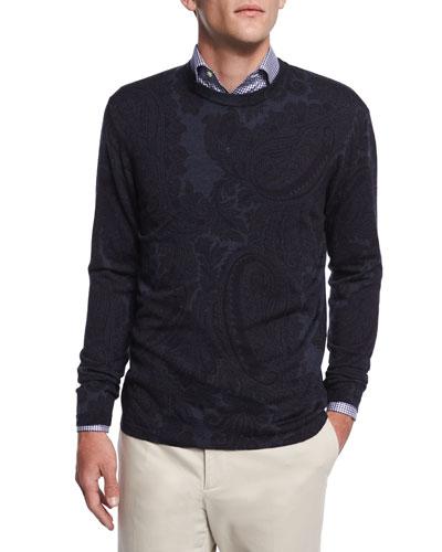 Tonal Paisley-Print Crewneck Sweater, Navy
