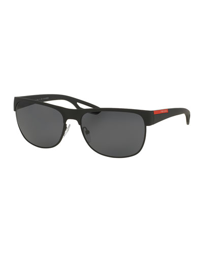 Rectangular Metal Sunglasses, Black