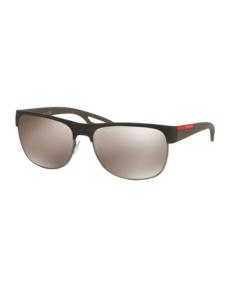 Prada Rectangular Half-Rimmed Sunglasses, Brown