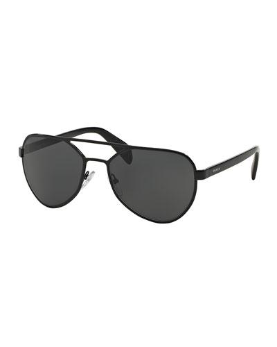 Metal Irregular Aviator Sunglasses, Gray