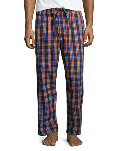 Bold-Check Flannel Pajama Pants, Purple