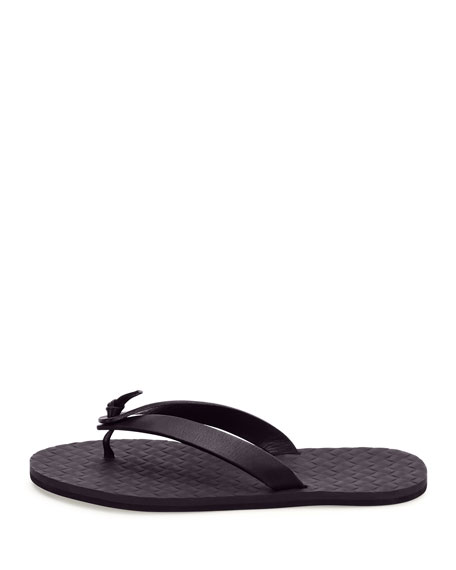 Leather Flip-Flop Sandal, Dark Navy