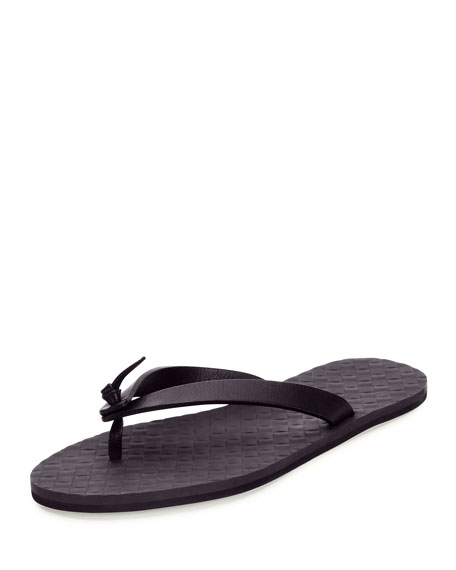 Bottega Veneta Leather Flip-Flop Sandal, Dark Navy