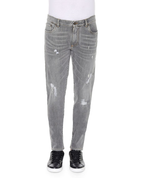Dolce & Gabbana Distressed & Faded Denim Jeans, Gray