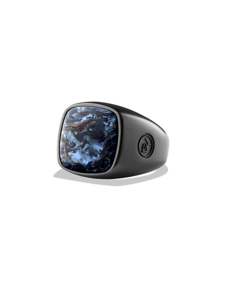 Pietersite Cushion Signet Ring