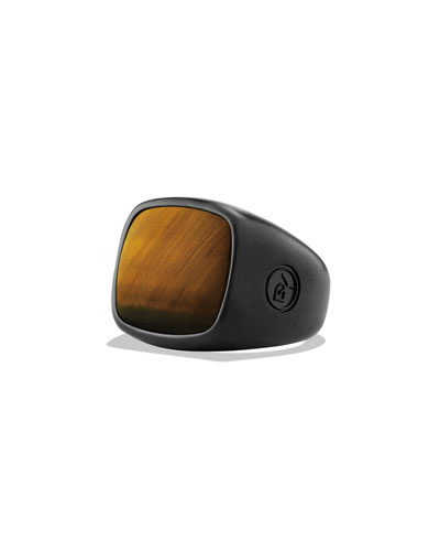 Tiger's Eye Cushion Signet Ring
