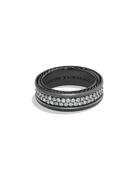 David Yurman Men's Two-Row Band Ring with Sapphire