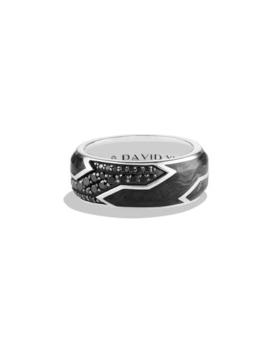 Men's Forged Carbon Band Ring with Black Diamonds