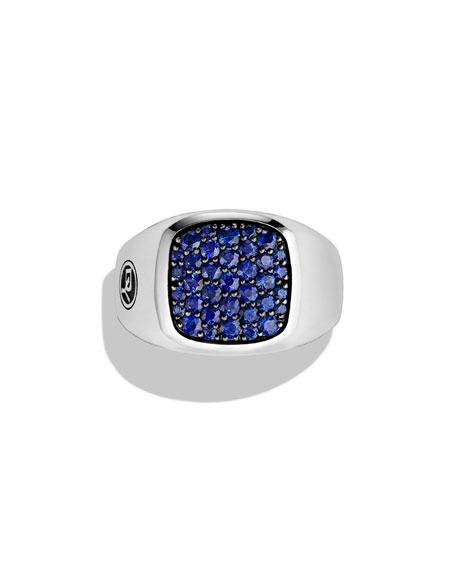 Blue Sapphire Cushion Signet Ring