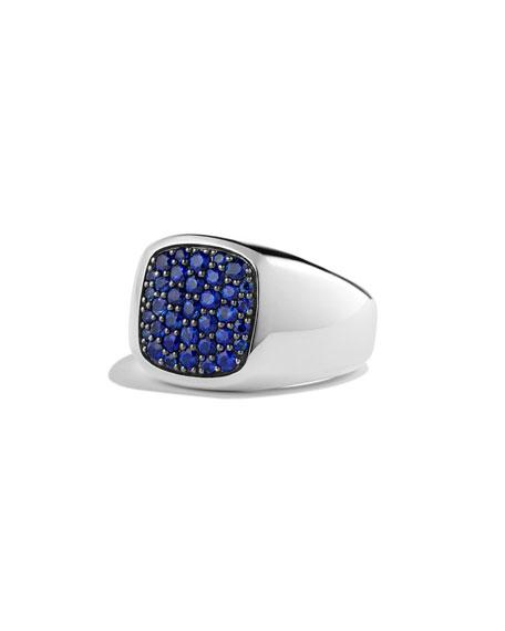 David Yurman Blue Sapphire Cushion Signet Ring