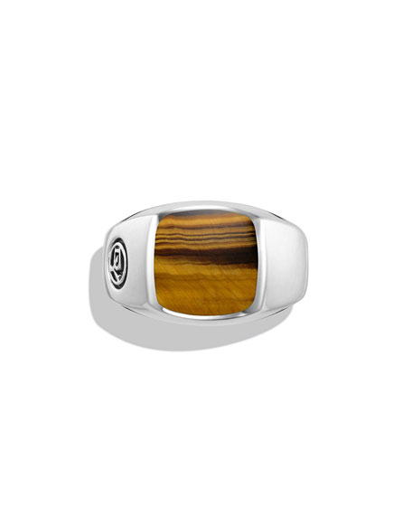 Tiger's Eye Cushion Signet Ring