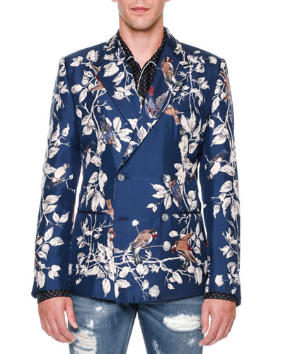 Bird-Print Double-Breasted Silk Blazer, Blue