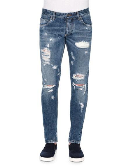 Dolce & Gabbana Five-Pocket Distressed Denim Jeans, Blue