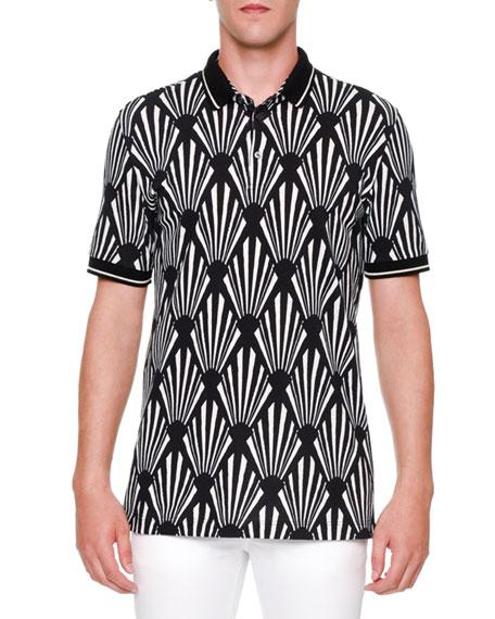 Dolce & Gabbana Geo-Print Short-Sleeve Polo Shirt, Black/White