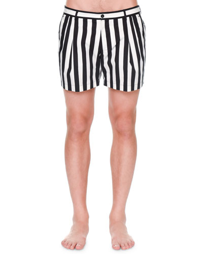 Striped Swim Shorts, Black/White