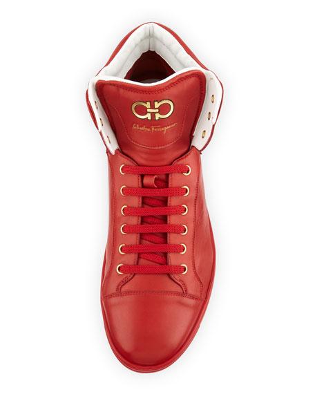 Lambskin High-Top Sneaker, Red