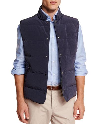 Brunello Cucinelli Quilted Snap-Button Vest, Navy