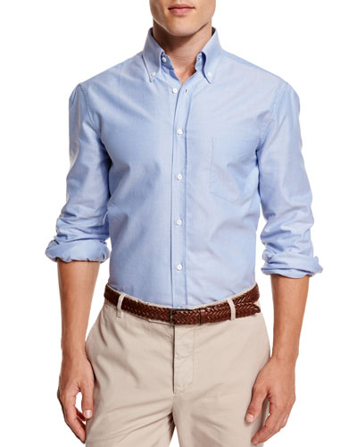 Oxford Button-Down Sport Shirt, Blue
