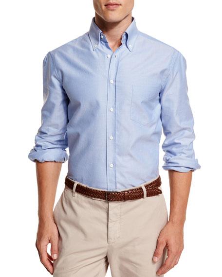Brunello Cucinelli Oxford Button-Down Sport Shirt, Blue