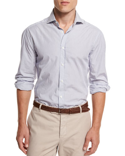 Mini-Stripe Button-Down Sport Shirt, White/Blue
