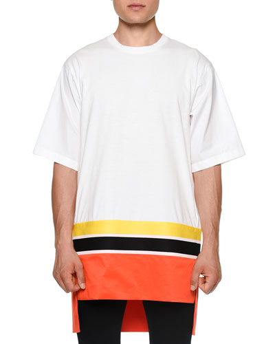 Colorblock Short-Sleeve Oversized Tee, White/Orange
