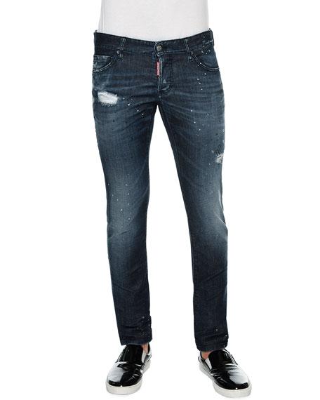 Dsquared2 Slim-Fit Paint-Splatter Distressed Denim Jeans, Blue