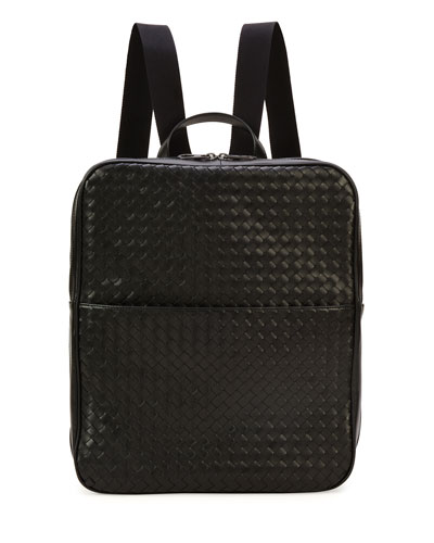 Men's Double-Compartment Woven Leather Backpack, Black