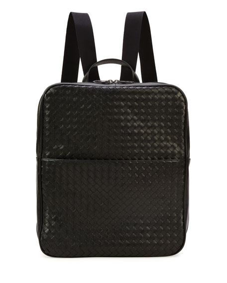 Bottega Veneta Men's Double-Compartment Woven Leather Backpack,