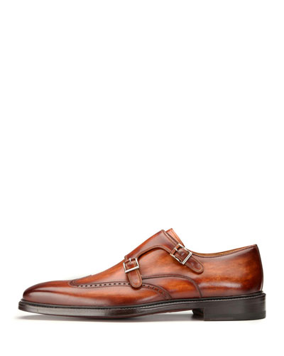 Wing-Tip Double-Monk Leather Shoe, Brown