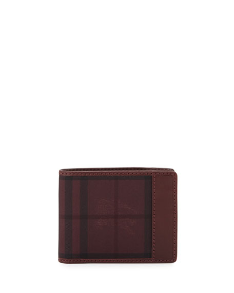 Burberry Check Hipfold Wallet, Red
