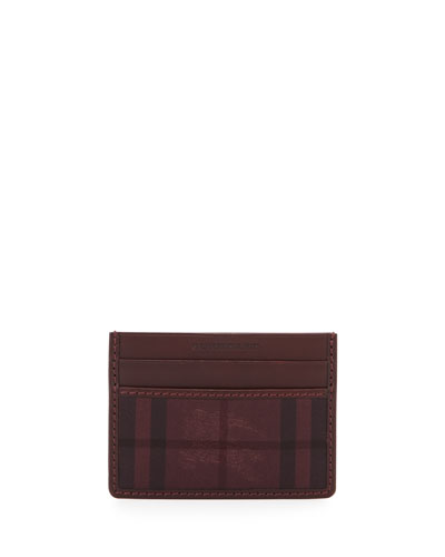 Check/Leather Card Case, Mahogany Red