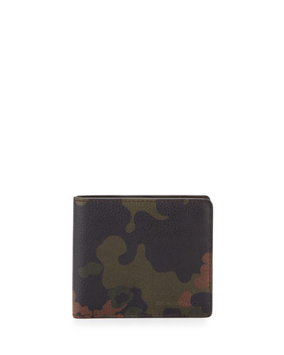 Camo-Print Leather Bi-Fold Wallet, Dark Green