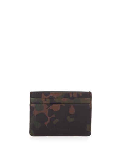 Camo-Print Leather Card Case, Dark Green