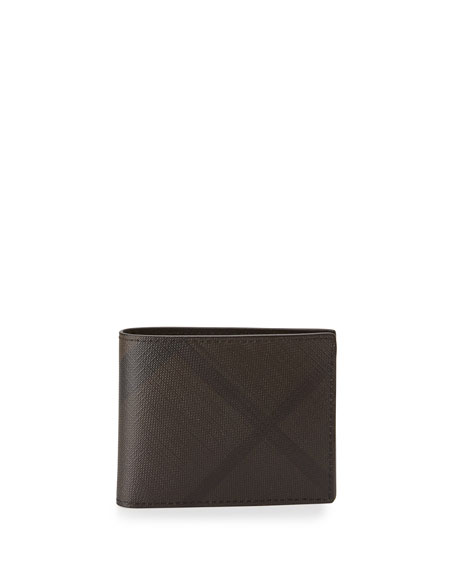 Burberry Smoke Check Hip-Fold Wallet, Chocolate/Black