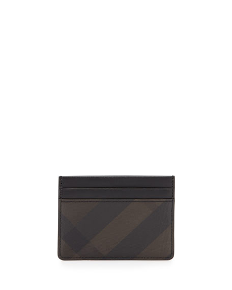 Burberry Smoke Check Card Case, Chocolate/Black