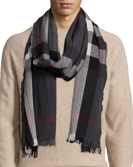 Men's Wool/Cashmere Tricolor Check Lightweight Scarf, Charcoal